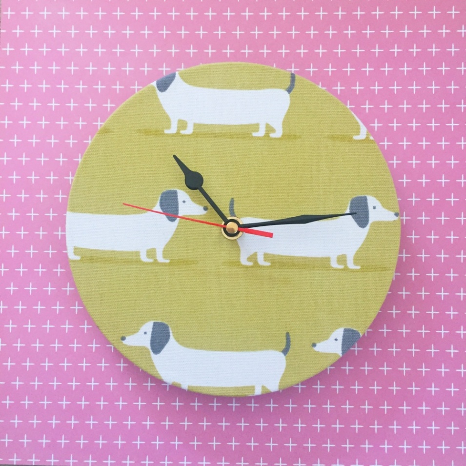 Dashound Fabric Wall Clock